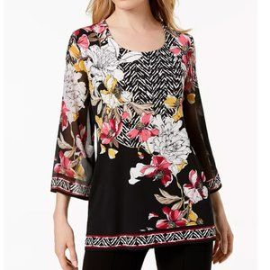 JM Collection Floral Black White Pink Tunic